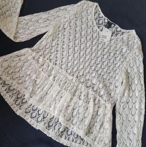 H&M Embroidered Net Full Sleeve Peplum Top